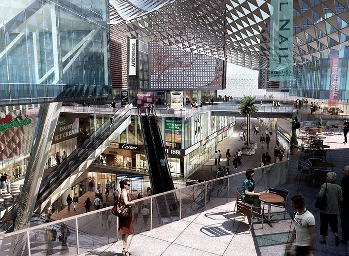 项目位于青岛市南京路和宁夏路交汇处,紧邻地铁出口,联系成熟的市南CBD和建设中的市北CBD,是一个集商业、创意办公、公寓于一体的高密度综合商业街区。 街区地下一层结合地铁和下沉式广场,地上三层通过屋顶绿化平台和空中连廊形成一个完整的步行系统,与地上一层一起形成三个首层,提高地上和地下空间的商业价值和人气;屋顶、露台、中庭、地面四位一体的空中绿化;通过太阳能利用、水循环系统、废弃物处理,达到可持续发展的目的。