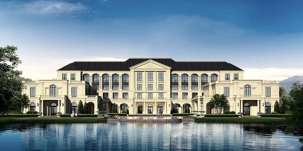 地块内规划布置有若干酒店,高层及多层公寓,以及合院住宅,独立住宅或