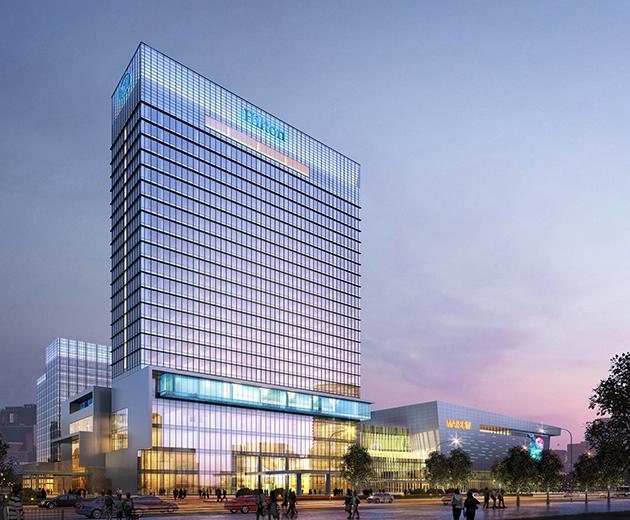 本项目位于浙江省台州市开发区内,地处台州市行政、经济、文化和商务中心,是一个涵盖高档住宅、办公楼、五星级酒店、一站式购物中心等多种物业形态的综合社区。设计师通过不同物业形态间的相互促进和补充,提升项目整体水平,使之成为台州市核心区域内的一个生动、有机、生态、和谐、独具特色的城市综合体,形成集购物、餐饮、娱乐、文化及居住为一体的高品质场所。 该项目的总体布局遵循现代建筑功能布局原则,以生动的轴线为主导,发展处多样空间,并与室内外的景观元素贯穿交融,从而形成深具现代气息和地域特色的综合体。商场、宾馆、办公楼及