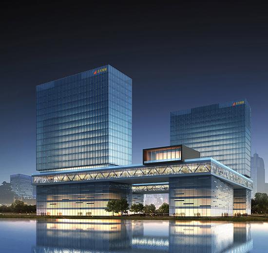 项目位于杭州海创园区研发办公区域。基地位于海创园核心区的西面,仓南路和一号路交汇口西北角,西面为规划道路,北面紧靠城市景观河流。地块规划布置两栋办公主楼以及商务配套和生活配套设施。整个基地交通便利,环境优美,非常适合研发办公建筑布置。