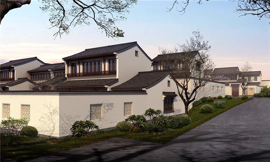 项目地处浙江安吉县城递铺镇西南方约七公里处的环灵峰山休闲度假区内,为环灵峰山休闲度假区的核心区块。项目拥有较好的区位条件和极佳的外部景观资源,因此希望将整个项目开发建设成为高品质的低密度住宅小区,力求为当地和邻县的居民提供一个宜居优雅的高品质社区,以满足居民的生活品质追求。 小区分为三个组团,总共16幢低层中式小院住宅,共103户。小院住宅均为前庭后院式的布局。每幢楼由2户至12户不等组成,通过基础、设备间及工具间把每户连在一起,形成一幢舒展的庭院住宅,户与户之间设有独立的围墙分隔。讲究色彩的搭配,延续古