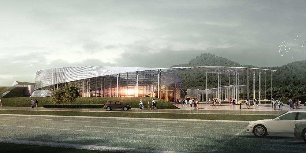 丝绸博物馆老馆的设计由多做扇形建筑环绕圆形历史馆形成丝绸一般的