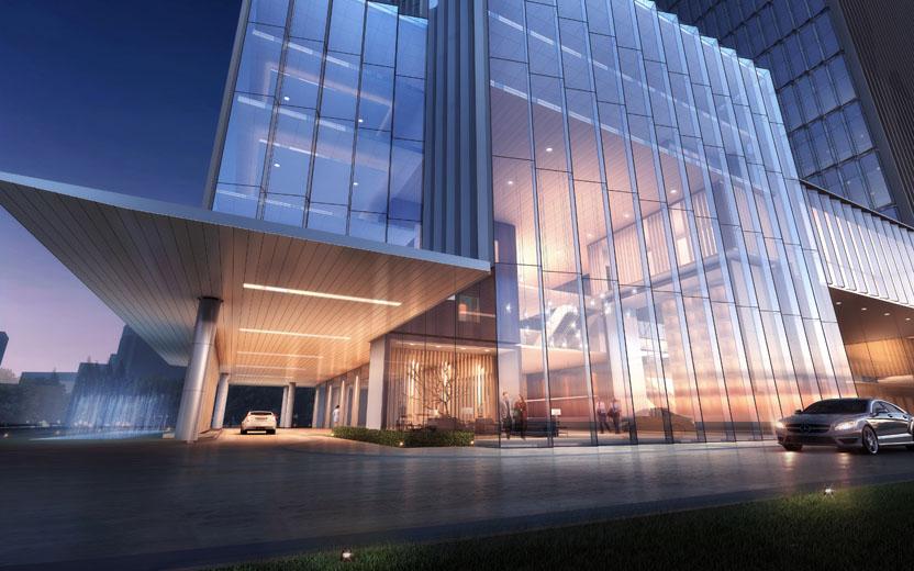 本项目为闽都大酒店重建项目,项目位于鼓楼区,古田路与古乐路交汇点上,包括2幢高层塔楼、商业裙房以及地下室。其中办公塔楼建筑高度129.8m,酒店塔楼建筑高度97.8m,由办公楼和酒店组成;裙房5层,为办公、酒店配套及商业;地下室共4层,为汽车库、酒店后勤用房、商业及设备用房等。本项目用地面积13929.