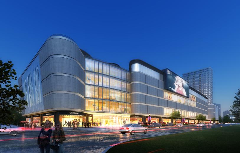 设计沿泾干湖在建筑的中心位置结合内部中庭