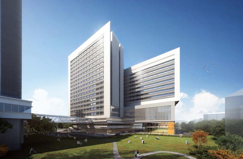 本项目的设计目标与理念是打造尊重人性,人文关怀,营造现代、高效、生态的大型综合性医院园区。通过整体的规划设计,将医院现状中较为散落的楼整合起来,形成三面围合、中心为绿化的大型庭院。并使原先由于用地限制支离化的院区空间形成全新的整体化、标志性的城市院落空间形象。 原医院院区内功能布局较为分散,各楼栋间功能布局逻辑性较弱,整合度较低,使用效率不高。本案通过改扩建,可实现功能布局的重新调整分配,整合部分共享资源,提高院区的运行效率,形成以核心半室外绿廊为联系的一个大综合、四个小专科的功能布局模式。并将餐厅、超
