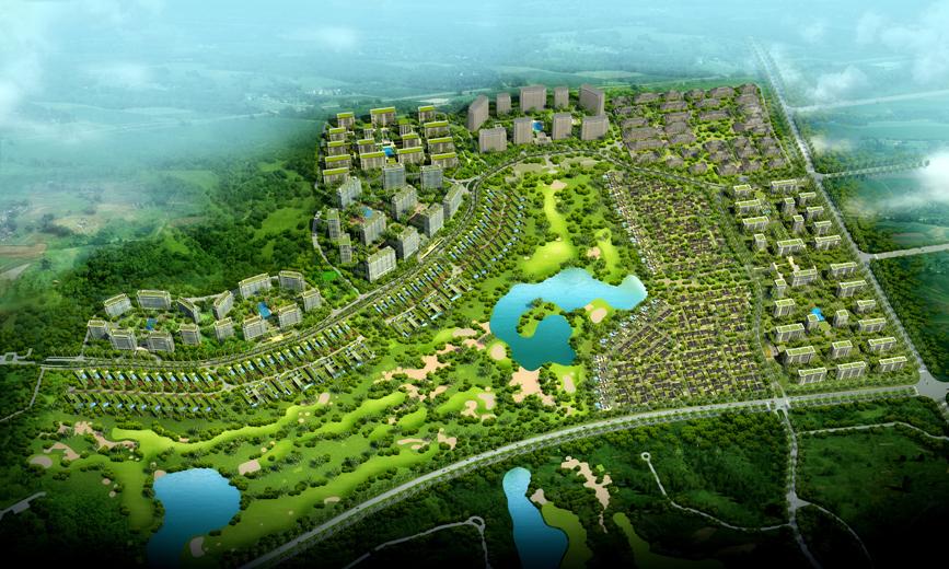 风景小镇手绘平面图