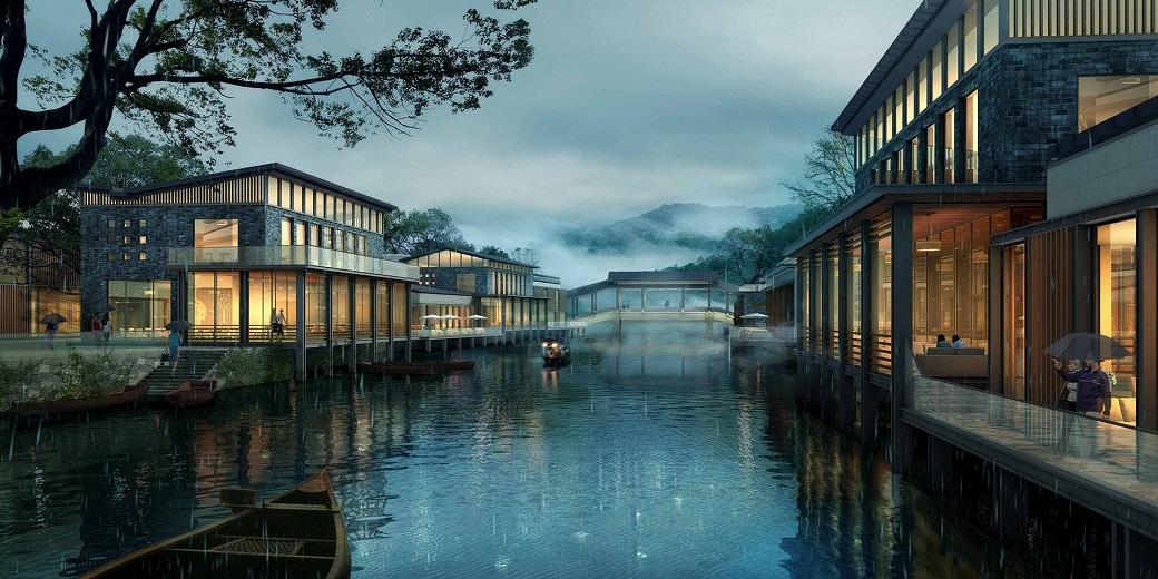 """一环,多心""""的规划格局进行设计:一岛指项目中间区域的湖心岛,包含滨水"""