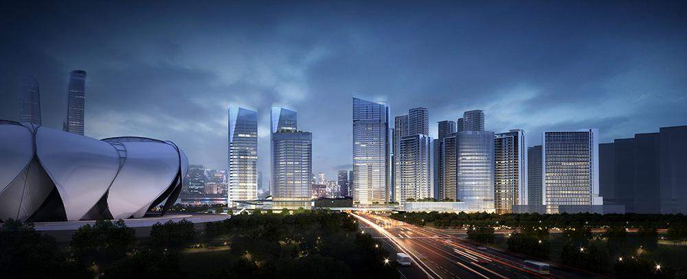 与奥体板块整体的现代建筑风格相融合,与滨江总体高科技城区的大战略